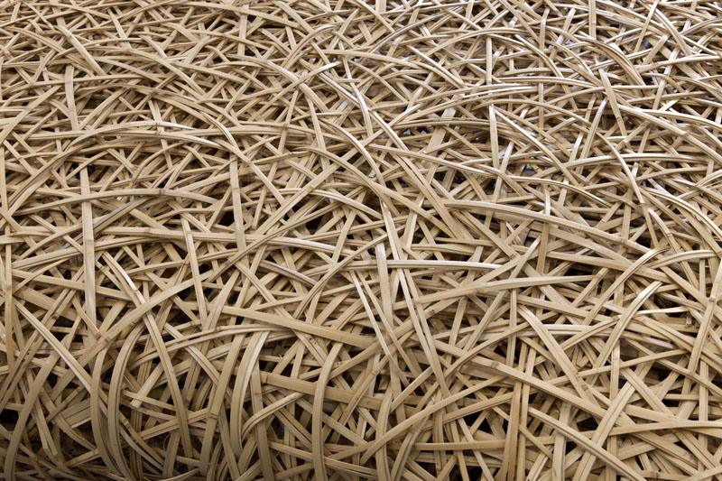 竹やたら編みベンチ